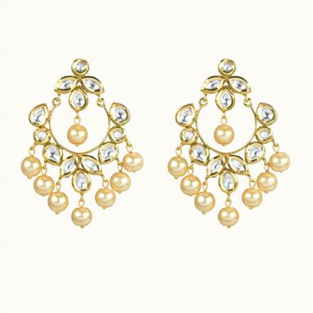 40064 Kundan Chand Earring with gold plating