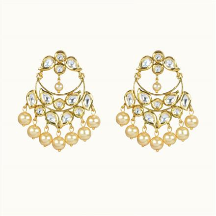 40065 Kundan Chand Earring with gold plating