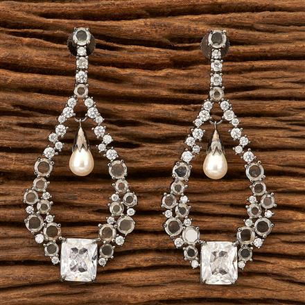 400689 Cz Classic Earring with Black plating
