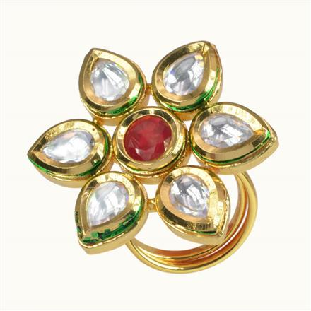 40072 Kundan Classic Ring with gold plating