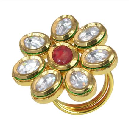40073 Kundan Classic Ring with gold plating