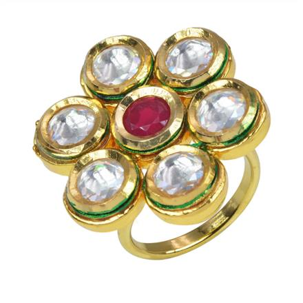 40074 Kundan Classic Ring with gold plating
