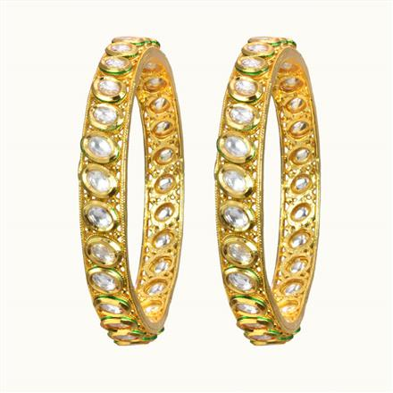 40076 Kundan Classic Bangles with gold plating