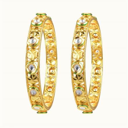 40077 Kundan Classic Bangles with gold plating