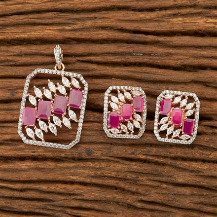 400830 Cz Classic Pendant set with Rose Gold plating