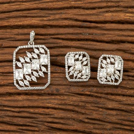 400831 Cz Classic Pendant set with Rhodium plating