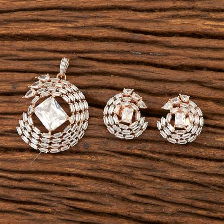 400832 Cz Classic Pendant set with Rose Gold plating