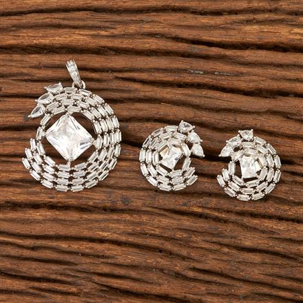 400833 Cz Classic Pendant set with Rhodium plating