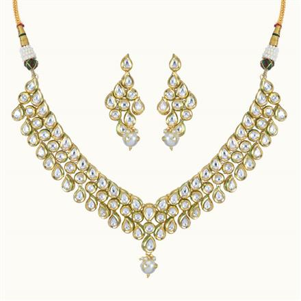 40087 Kundan Classic Necklace with gold plating