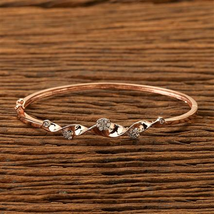 400882 Cz Delicate Kada with Rose Gold plating