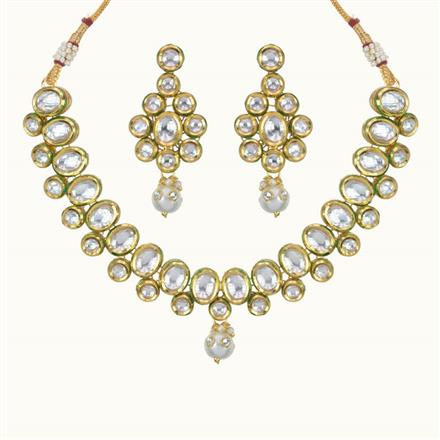 40089 Kundan Delicate Necklace with gold plating