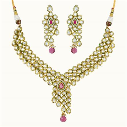 40091 Kundan Classic Necklace with gold plating