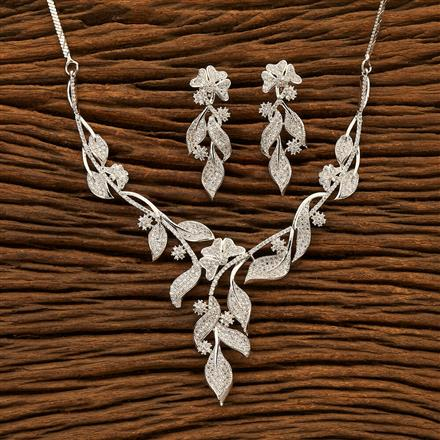 400923 Cz Classic Necklace with Rhodium plating