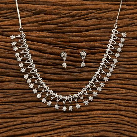 400926 Cz Classic Necklace with Rhodium plating