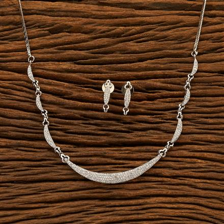 400929 Cz Delicate Necklace with Rhodium plating