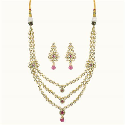 40092 Kundan Long Necklace with gold plating