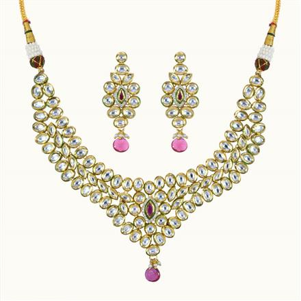 40093 Kundan Classic Necklace with gold plating