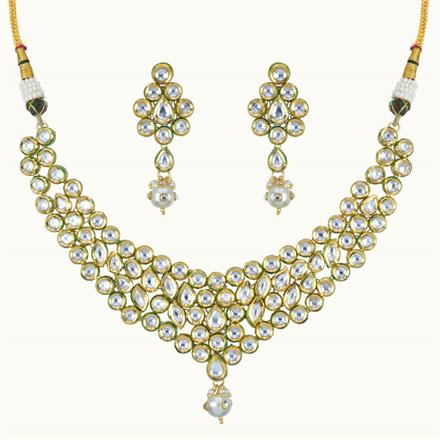 40094 Kundan Classic Necklace with gold plating