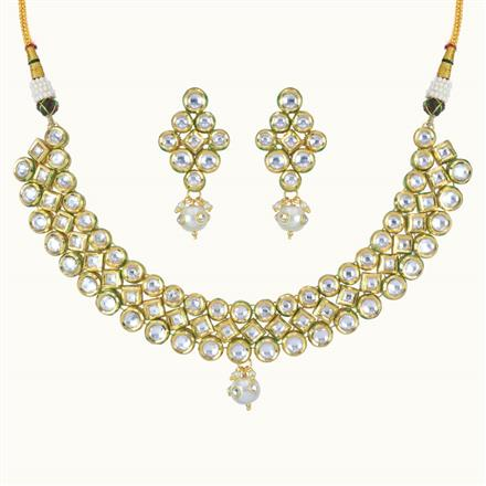 40096 Kundan Classic Necklace with gold plating