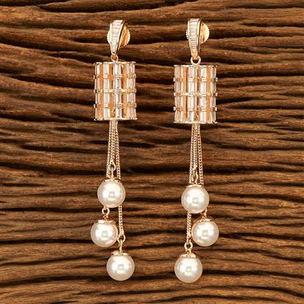 400988 Cz Classic Earring with Rose Gold plating
