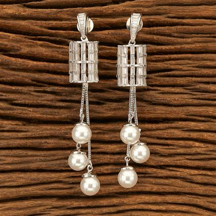 400989 Cz Classic Earring with Rhodium plating