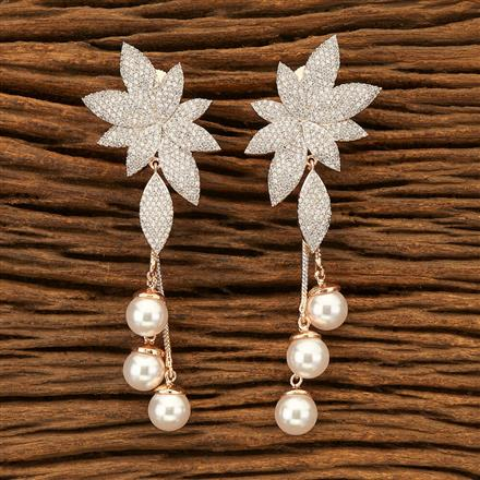 400990 Cz Classic Earring with Rose Gold plating