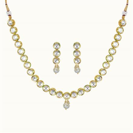 40100 Kundan Delicate Necklace with gold plating