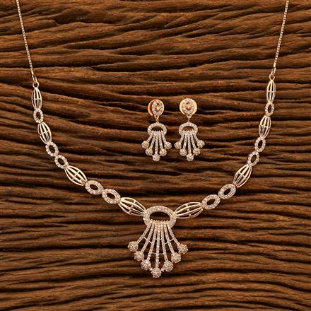 401011 Cz Classic Necklace with Rose Gold plating