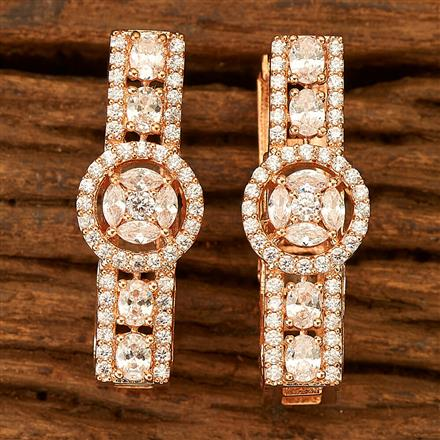 401027 Cz Classic Earring with Rose Gold plating