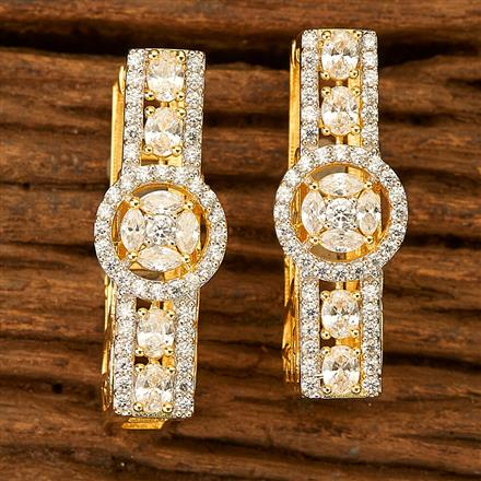 401029 Cz Classic Earring with 2 Tone plating
