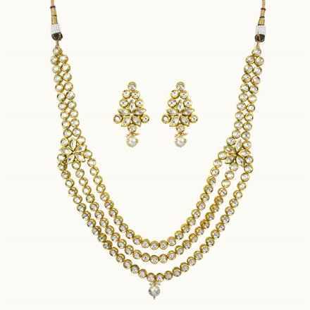 40102 Kundan Long Necklace with gold plating
