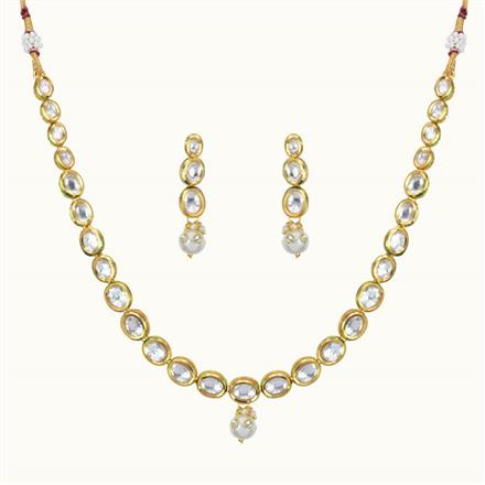 40103 Kundan Delicate Necklace with gold plating