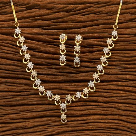401077 Cz Classic Necklace with 2 Tone plating