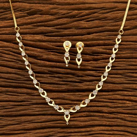 401092 Cz Delicate Necklace with gold plating