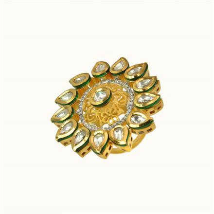 40111 Kundan Fusion Ring with gold plating