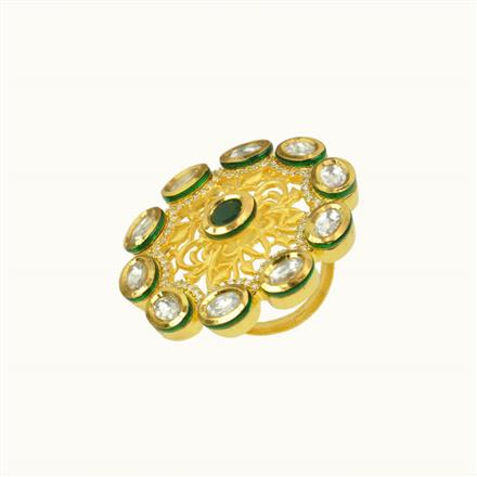 40112 Kundan Fusion Ring with gold plating