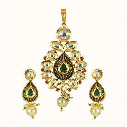 40114 Kundan Fusion Pendant Set with gold plating