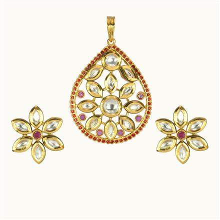 40115 Kundan Fusion Pendant Set with gold plating