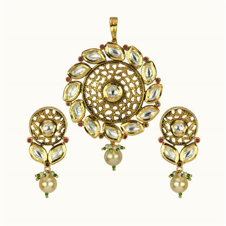 40119 Kundan Fusion Pendant Set with gold plating