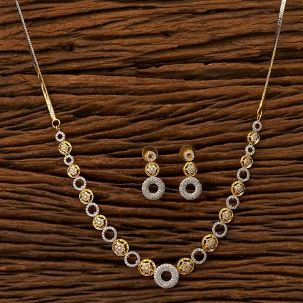 401384 Cz Classic Necklace with 2 Tone plating