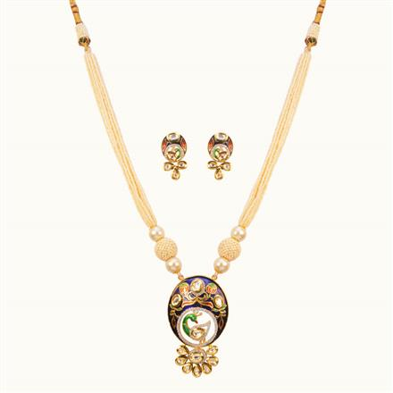 40138 Kundan Peacock Pendant Set with gold plating