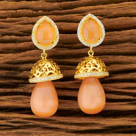 401429 Cz Jhumkis with gold plating
