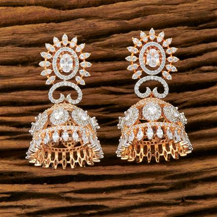 401435 Cz Jhumkis with Rose Gold plating