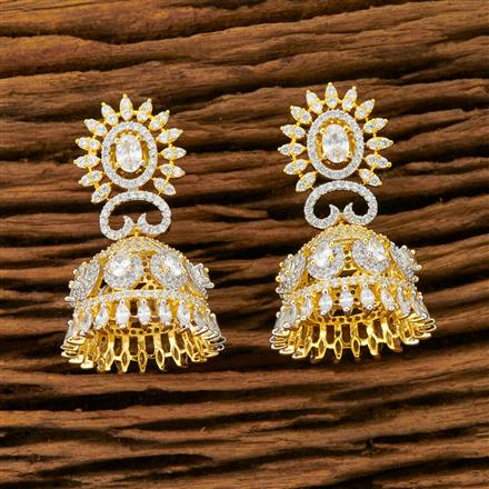 401437 Cz Jhumkis with 2 Tone plating