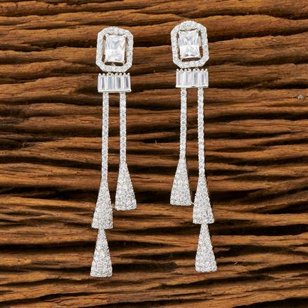 401439 Cz Long Earring with Rhodium plating