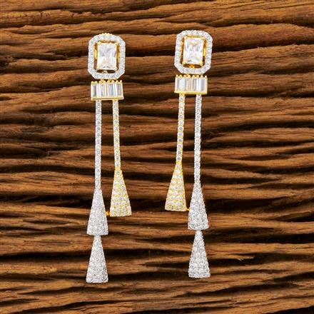 401440 Cz Long Earring with 2 Tone plating