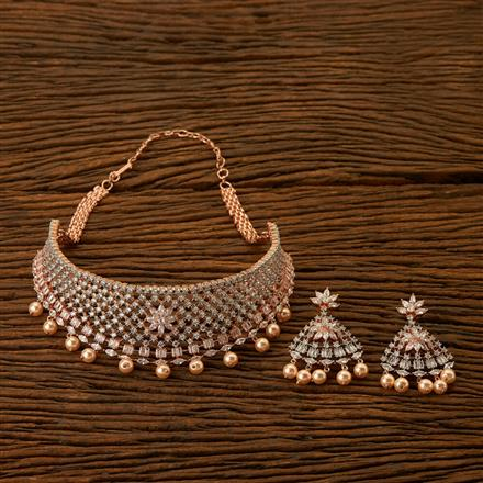 401481 Cz Choker Necklace with Rose Gold plating