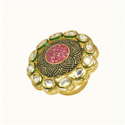 40160 Kundan Fusion Ring with gold plating