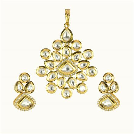 40161 Kundan Fusion Pendant Set with gold plating