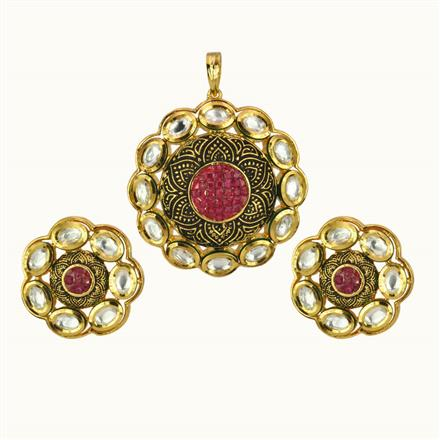 40163 Kundan Fusion Pendant Set with gold plating